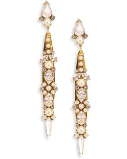 Born Again Crystal & Faux Pearl Drop Earrings