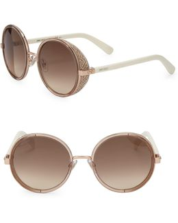 Andie 54mm Round Crystal-detail Sunglasses