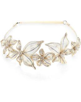 Mesh & Swarovski Crystal Botanical Headband