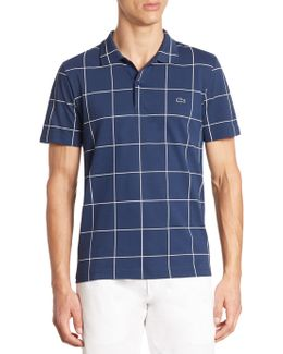 Windowpane-print Polo