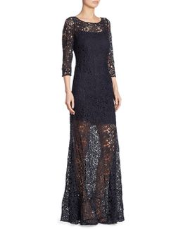 Three-quarter Sleeve Lace Sheer Gown