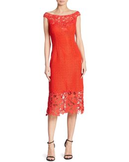 Boat Neck Floral Lace Sheath Dress