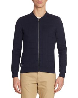 Windowpane Jacquard Full-zip Sweater