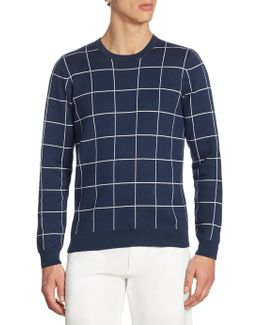 Windowpane Jacquard Crewneck Sweater