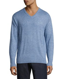 Crown Wool & Linen Heathered Pullover