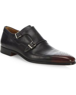Saks Fifth Avenue By Magnanni Jaca Leather Monk Strap Shoes