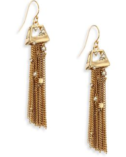 Elements Geo Crystal Tassel Earrings