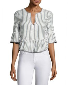 Striped Ruffled Bell Sleeves Cropped Top