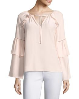 Saturday Bell Sleeve Silk Blouse