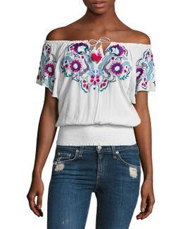 Sasha Embroidered Off-the-shoulder Top