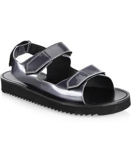 Riva Metallic Leather Grip-tape Strap Sandals