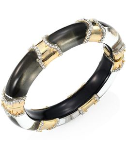 Lucite Pave Edge Segment Hinge Bangle