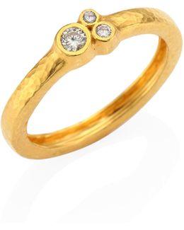 Pointelle Diamond & 22k Yellow Gold Band Ring