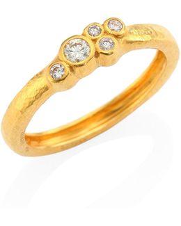 Pointelle Diamond & 22k Yellow Gold Ring