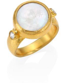 Lentil Diamond, 13mm Biwa Coin Pearl & 24k Yellow Gold Ring