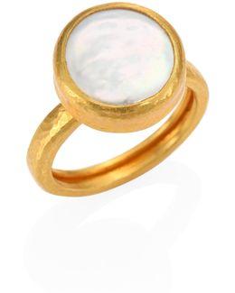 Lentil 13mm White Biwa Pearl & 22-24k Yellow Gold Ring