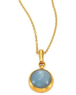 Amulet Hue Aquamarine & 18-24k Yellow Gold Pendant Necklace