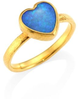 Amulet Hue Opal & 22-24k Yellow Gold Heart Ring