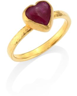 Amulet Hue Ruby & 22-24k Yellow Gold Heart Ring