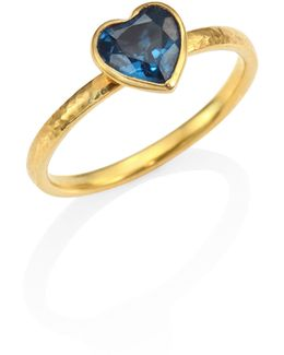 Amulet Hue Blue Topaz & 22-24k Yellow Gold Heart Ring