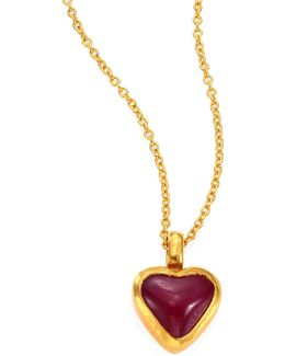 Amulet Hue Ruby Heart & 18-24k Yellow Gold Pendant Necklace