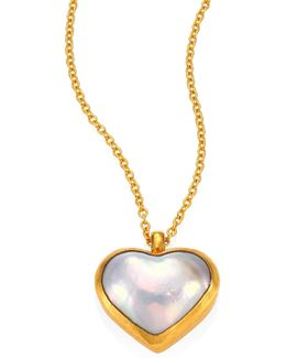 Amulet Hue 11mm White Mabe Pearl Heart & 18-24k Yellow Gold Pendant Necklace