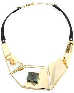 Elements Lucite & Leather Liquid Geometric Bib Necklace