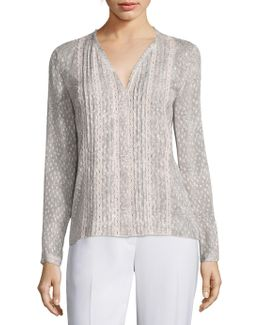 Gale Pleated Fil Coupe Blouse