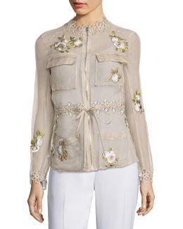 Katya Silk Cargo Organza Jacket