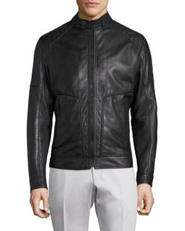 Shield Perforated Leather Jacket