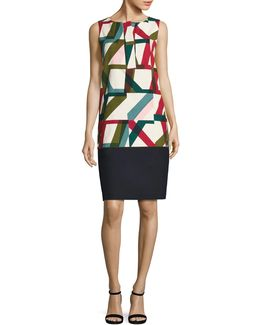 Abstract Geo-print Shift Dress