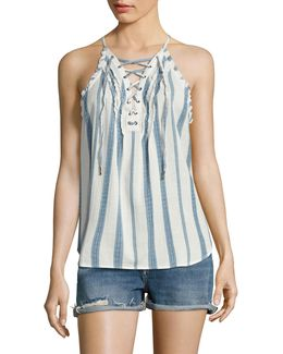 Bria Striped Lace-up Tank Top