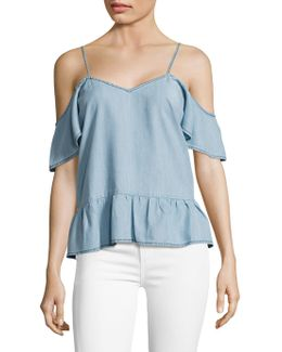 Mitzi Chambray Off-the-shoulder Top