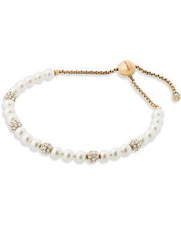 Classic Modern Faux-pearl Slider Bracelet