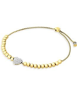 Puffy Heart Slider Bracelet/silvertone