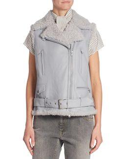 Shearling Moto Vest