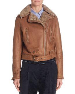 Shearling Leather Moto Jacket