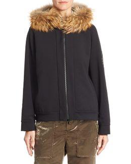 Fox Fur-trim Jersey Zip Hoodie