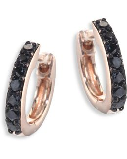 Mini Halo Black Diamond & 14k Rose Gold Hoop Earrings