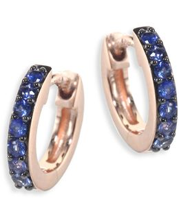 Mini Halo Blue Sapphire & 14k Rose Gold Hoop Earrings