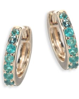 Mini Halo Emerald & 14k Yellow Gold Hoop Earrings