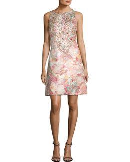 Jeweled Floral Brocade Dress