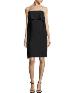 Genius Strapless Popover Cape Dress