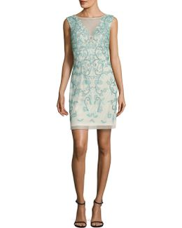 Floral Embellished Sheath Dress