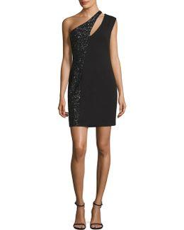 One-shoulder Sequined Crepe Dress