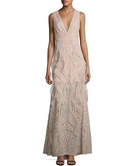 Woven Lace Ruffle Gown
