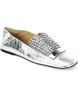 Sr1 Jeweled Metallic Leather Slippers