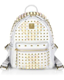 Stark Pearl Studded Metallic Leather Backpack