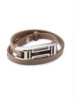 X Fitbit Double-wrap Leather Bracelet