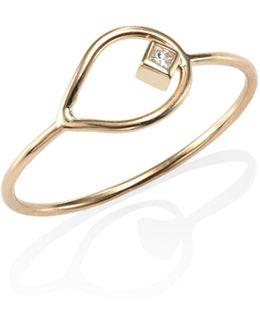 Diamond & 14k Yellow Gold Open Teardrop Ring